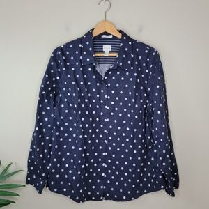 Chico's | Navy White Polka Dot Button Front Shirt